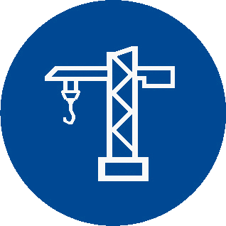Construction and civil engineering icon blue