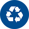 Waste management icon blue